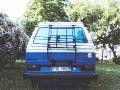 BulliHoliday VW Bus mieten Blumo - Heckansicht 2 mit Fahrradträger
